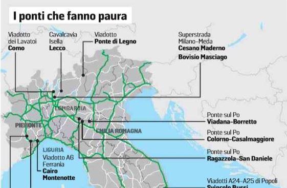 Ponti pericolosi in Lombardia: 3 nella Bassa segnalati dal Cnr