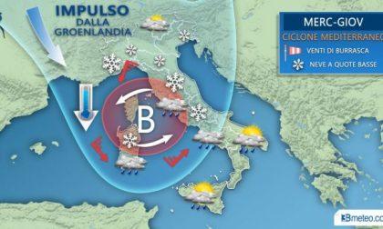Arriva il ciclone mediterraneo: maltempo, vento e neve PREVISIONI METEO