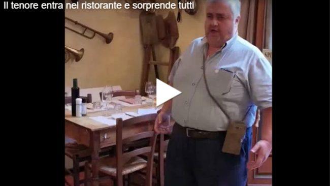 Il tenore entra nel ristorante e sorprende tutti VIDEO VIRALE