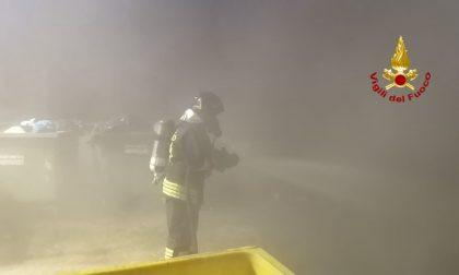 A fuoco quattro cassonetti della raccolta differenziata a Torriano FOTO