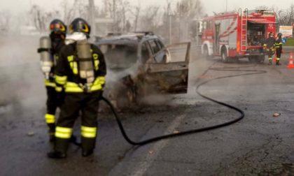 Vettura distrutta dalle fiamme a Siziano